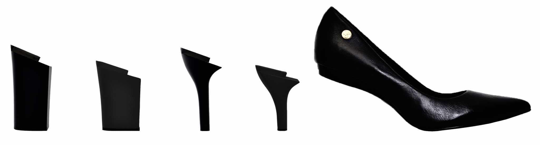 667dc19fb Funciona assim: você compra um sapato e ele já vem com dois saltos  diferentes. Aí, você pode comprar os saltos que quiser separadamente.