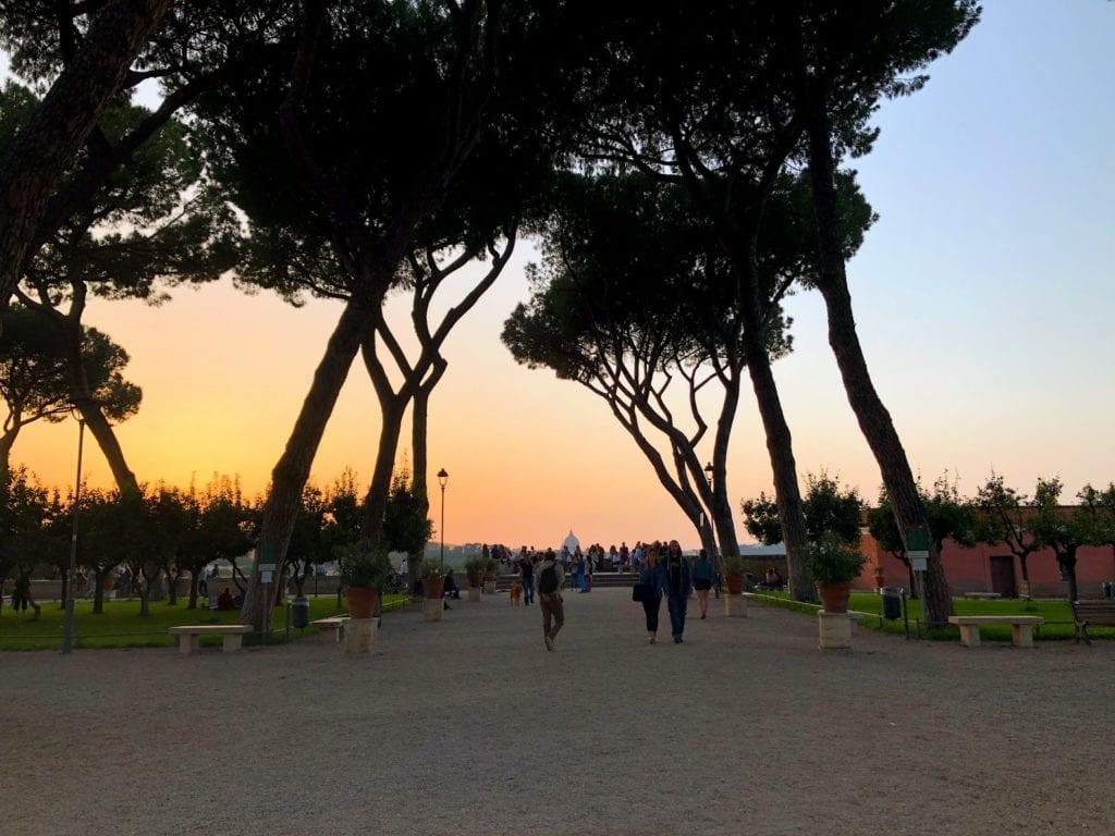 Por do sol em Roma: Giardino degli Aranci