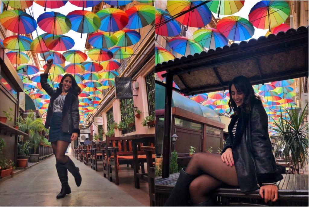Rua dos guarda-chuvas coloridos, Bucareste, Romênia