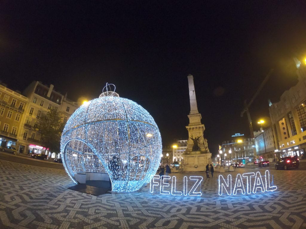 Luzes de Natal em Lisboa, Portugal