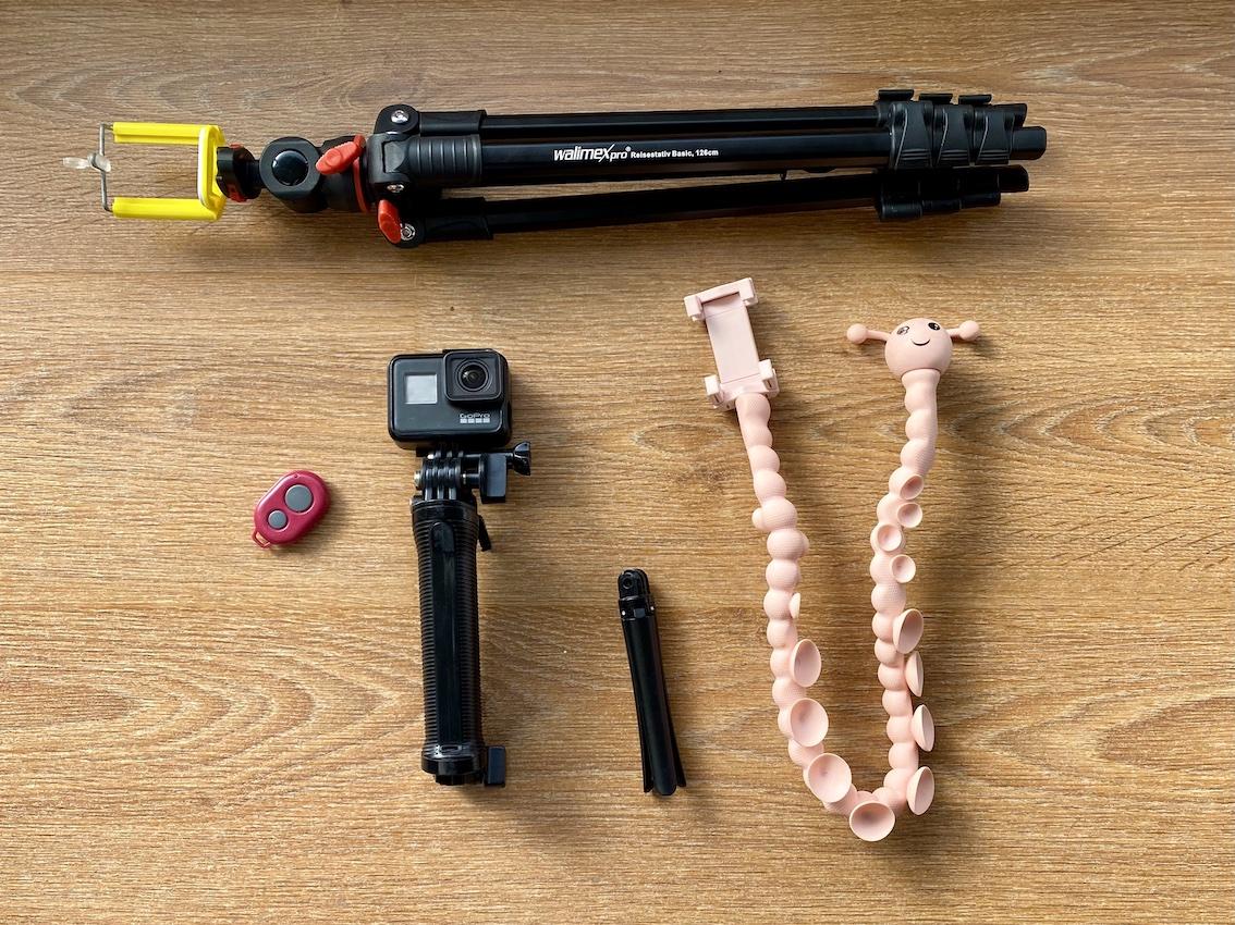 equipamentos para foto sozinha